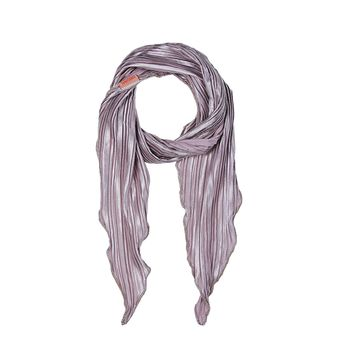 Gray Pleated Skinny Scarf