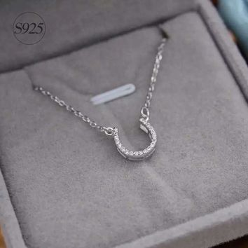 1pc Real. 925 Sterling Silver small white CZ Paved Equestrian Horseshoe lucky Necklace Pendant rolo chain women Jewelry GTLX476