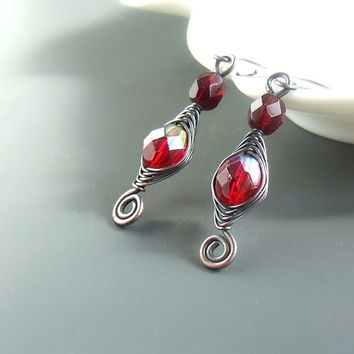 Red dangle earrings, red copper earrings, handmade glass jewelry