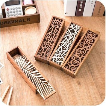 Hollow Wood Pencil Case Storage Box Wooden Box Pencil Case School Gift
