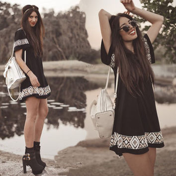 2017 Trending Fashion Floral Printed Floral Printed Short Sleeve One Piece Dress _ 10880