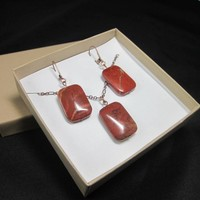 Slab rectangular gemstone necklace earring set red jasper copper chain
