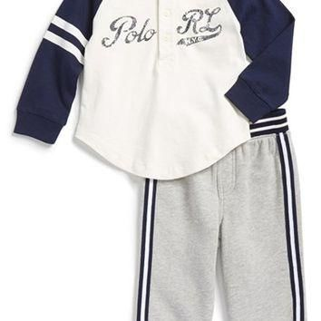 Infant Boy's Ralph Lauren Baseball Top & Sweatpants