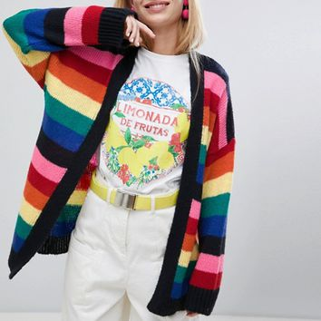 ASOS DESIGN oversized cardigan in rainbow stripe at asos.com