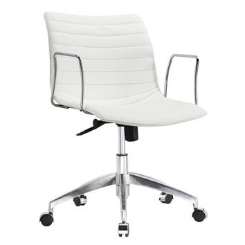 White Faux Leather Modern Mid-Century Office Chair with Curved Mid-Back Seat & Arms