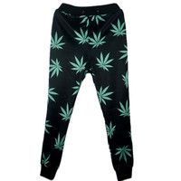 3D print joggers for men/women hemp weed leaf sweatpants jogging trousers emoji