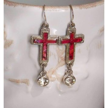 Vintage Red Mother of Pearl Abalone Shell Cross Earrings