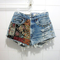 Make To Order - Vintage High Waist  Tribal NaGa Gold Circle Studded Cut Off Shorts