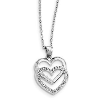 Sterling Silver Diamond Mystique 18in Double Heart Pendant Necklace