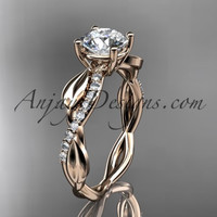 """14kt rose gold leaf diamond wedding ring, engagement ring with a """"Forever One"""" Moissanite center stone ADLR385"""