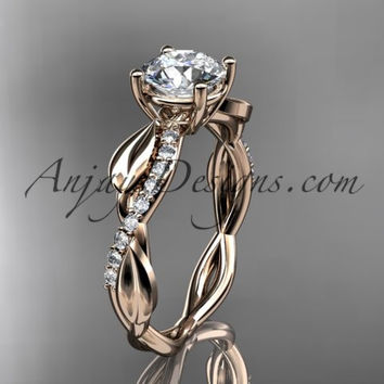 "14kt rose gold leaf diamond wedding ring, engagement ring with a ""Forever One"" Moissanite center stone ADLR385"