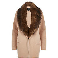 Beige jersey faux-fur trim jacket