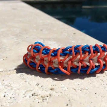 Zippy Chain Rainbow Loom Bracelet Blue Orange White With Optional ADD ON Charm Football Soccer Baseball Basketball Cheer Tennis  Yoga