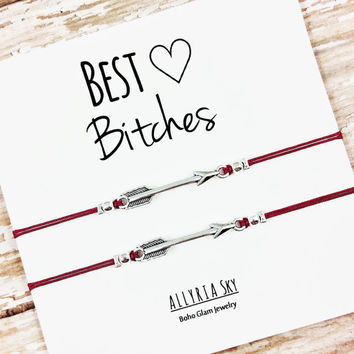 "Set of Two Silver or Gold Charm Friendship Bracelets with ""Best Bitches"" Card 