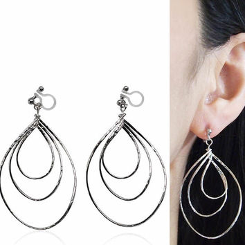 Silver Invisible Clip on Hoop Earrings Dangle Clip Triple Hoop Earrings Teardrop Earrings Non Pierced Earrings Clip-ons Gift for Her