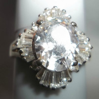 3.5 Carat CZ and CZ Baquettes Ring Vintage 1110