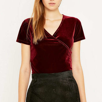 Urban Renewal Vintage Remnants Wine Velvet Wrap Top - Urban Outfitters