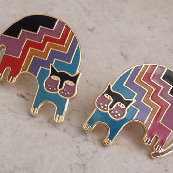 Aztec Cat Earrings Rainbow Colors Laurel Burch Vintage 062916BT