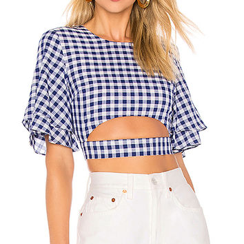 L'Academie The Lorenzo Blouse in Blue Gingham | REVOLVE