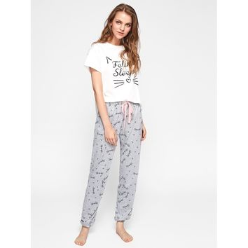 Cat Pattern Print Top And Pants Pajama Set
