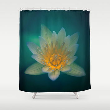 Waterlily Designer Shower Curtain - fine art photography, bathroom decor, unique art, 71x74, dreamy, green, blue, yellow, flower, nature