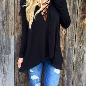 V Neck Cross Front Loose Shirt