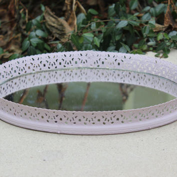Pink oval vanity tray - Vintage metal vanity tray, painted vanity tray, mirrored vanity tray, jewelry tray