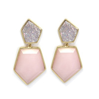 Double Stone Earrings in Pink Opal and Druzy