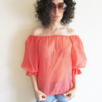 Super Cute Vintage Red and White Polka Dot Sheer Off the Shoulder Boho Festival Shirt Top