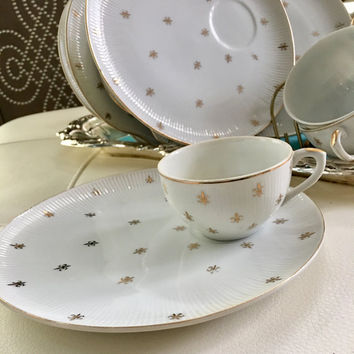 10 Snack Sets, Vintage Tea Cup and Plate, Fleur De Lis, Wedding Gift, China Teacup Set Retro Luncheon Set