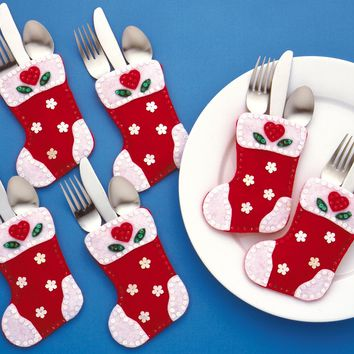 "Christmas Stockings Set Of 6 Design Works Felt Silverware Pockets Applique Kit 4""X6"""