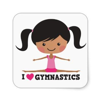 I love gymnastics african american cartoon girl