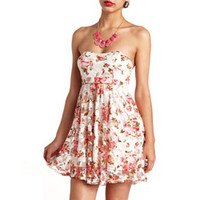 STRAPLESS BOW-BACK FLORAL LACE DRESS