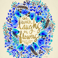 The Earth Laughs in Flowers – Gold & Blue Art Print by Cat Coquillette