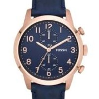 Fossil Townsman Chronograph Navy Dial Navy Leather Mens Watch FS4933