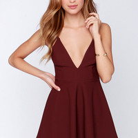 LULUS Exclusive Shoot to Score Burgundy Dress