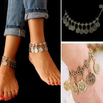 Gypsy Beach Ethnic Tribal Festival Jewelry Bracelet Silver Coin Anklet Adjustable Handmade Floral Design Bohemia Style