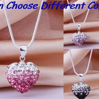 hot best wedding mixed color new arrival snake mix Drop Fashion Silver Plated CZ Crystal Gradient Heart Shamballa Necklace Pendant