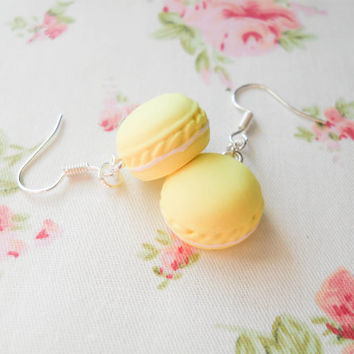 Macaroon Earrings, Macaron Earrings, Dessert Earrings, Food Earrings, Pastel Earrings, Pastel Kawaii, Sweet Lolita, Pastel Yellow
