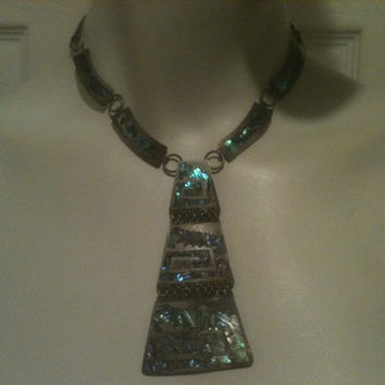 TAXCO 925 NECKLACE STERLING Perlita Silver Abalone Revival Mexico