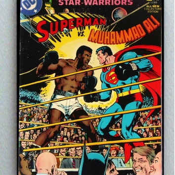Large Framed Muhammad Ali vs Superman Comic Cover Restored Reprint