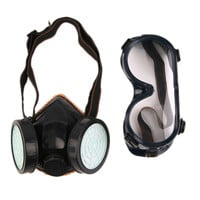 New Arrive Protection Filter Double Gas Mask Chemical Gas Respirator Face Mask Goggles Hot Selling