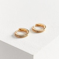 18k Gold Plated Rhinestone Hoop Earring | Urban Outfitters