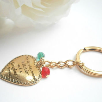 Mother Daughter Keychain - Personalized Keychains - Gold Quote Keyring - Gift for Mum - Custom Keyrings - Mother of the bride - Mom Gifts