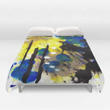 Abstract Painting Duvet Cover by Yuval Ozery