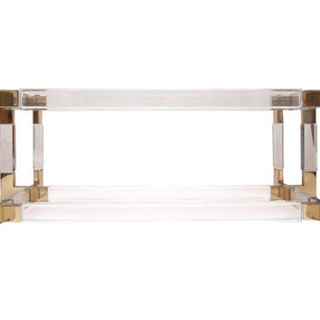 Charles Hollis Jones Lucite and Brass Coffee Table Base