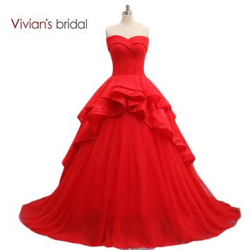 Off Shoulder Sweetheart Sleeveless Red Ball Gown Wedding Dress Lace Bride Bridal Gown Tiered Train