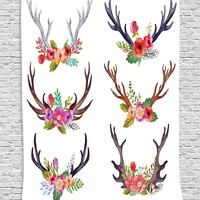 Floral Antler Wall Fabric Wall Art Tapestry