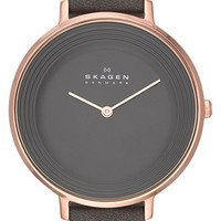 Women's Skagen 'Ditte' Textured Dial Leather Strap Watch, 37mm - Grey/ Rose Gold