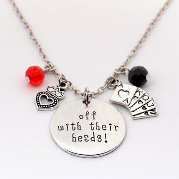 """Alice in Wonderland Necklace""""off with their Heads"""" Letter Pendant Crystal Queen of Hearts Poker Charms Handmade Silver Necklace"""